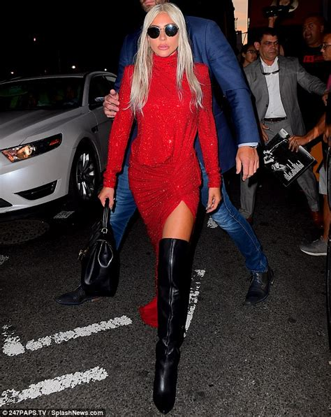Lady Gaga Flashes Her Legs Red Split Gown Thigh