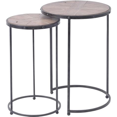 set of two table ls buy two industrial style circular side tables from fusion