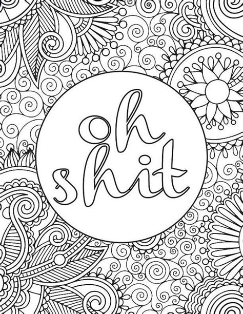 printable adult coloring book page  shit