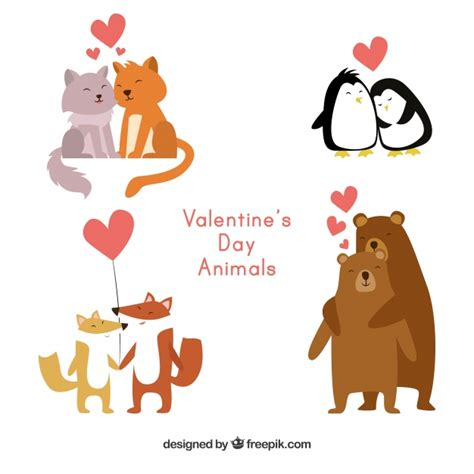Other products you may like. Flat animal couple collection for valentine Vector   Free ...
