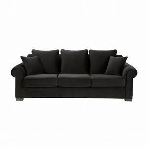 Sofa 4 Sitzer : sofa 3 4 sitzer nicht ausziehbar velours schwarz claridge claridge maisons du monde ~ Eleganceandgraceweddings.com Haus und Dekorationen