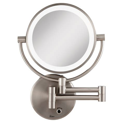 satin nickel mirror next generation 174 led lighted 5x 1x wall mount mirror 2104