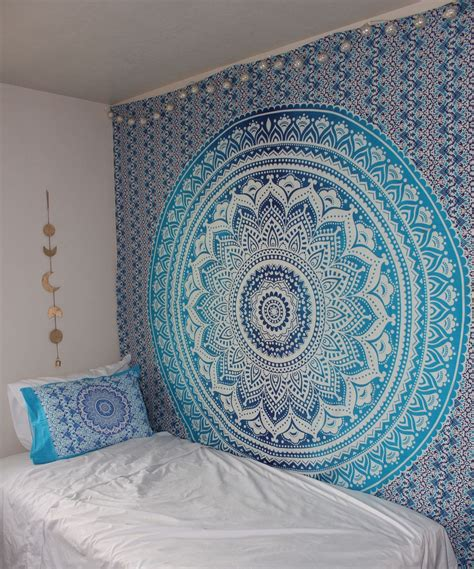 blue multi indian ombre mandala wall tapestry hippie