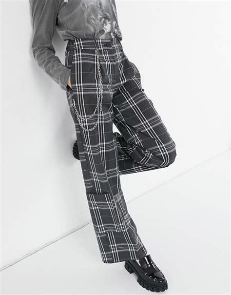 bershka geruite broek met wijde pijpen  zwart asos