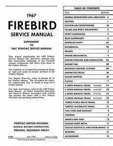 1967 Pontiac Firebird Service And Repair Manual