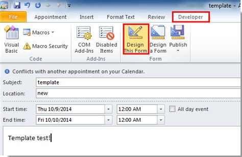 outlook form templates how to create appointment or meeting template in outlook