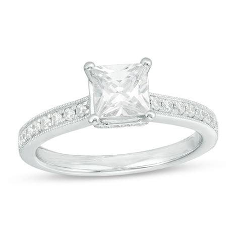 celebration ideal 1 1 5 ct t w princess cut vintage style engagement ring in 14k white