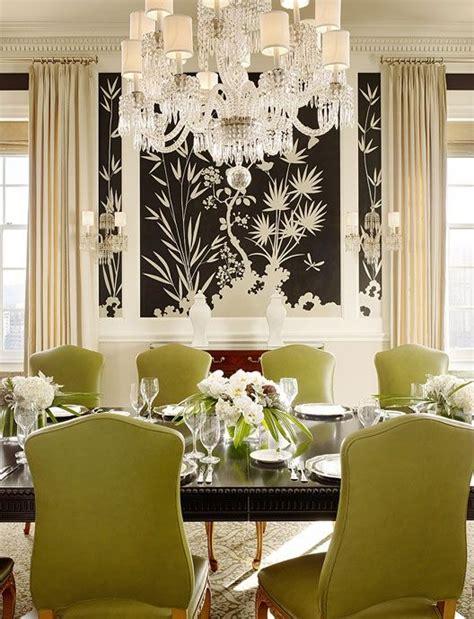bold black  white wallpaper  formal dining room