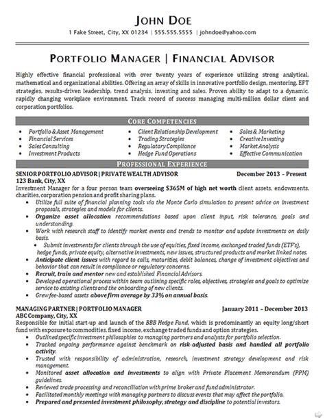 portfolio manager resume  financial advisor