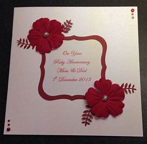 handmade ruby wedding anniversary card craft pinterest With handmade ruby wedding invitations