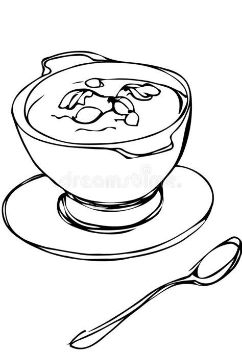 Kleurplaat Kom Soep kom soep met kruiden en lepel die daarna liggen vector