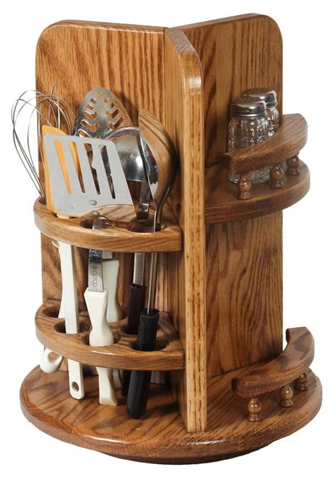 amish wood kitchen utensil lazy susan  paper towel holder