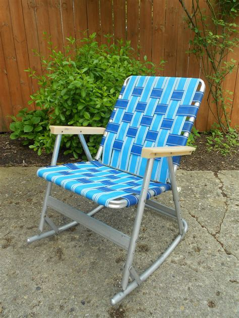 Outdoor Lawn Chairs by Vintage Webbed Tubular Aluminum Rocker Rocking Lawn Chair