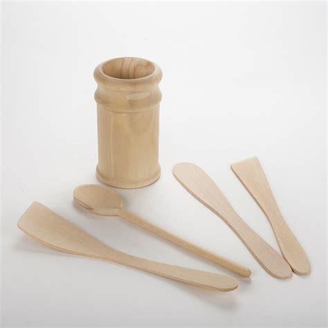 ustensiles de cuisine en bois ustensiles de cuisines en bois brut non traité avec pot