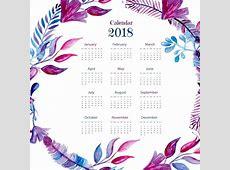 Calendario 2018 con plumas en acuarela Descargar