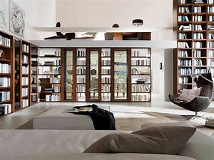 Home Library Furniture: Amazing White Home Library Design ...