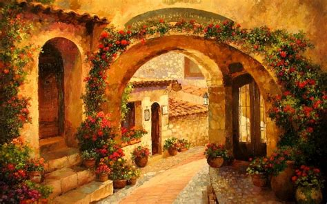 courtyard red flowers tuscany wallpapers courtyard red