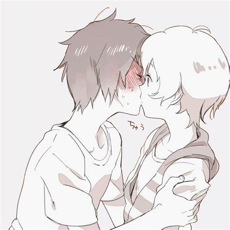 Anime Kiss Gif Cute Amor Anime Bl Black And White Blush Boys Love Couple