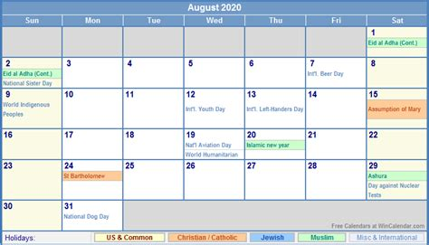 august calendar holidays picture