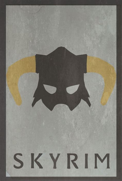 Minimalist Video Game Poster Skyrim Video Game Art