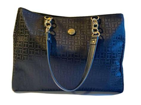 tommy hilfiger black monogram  jacquard tote bag   sale  ebay