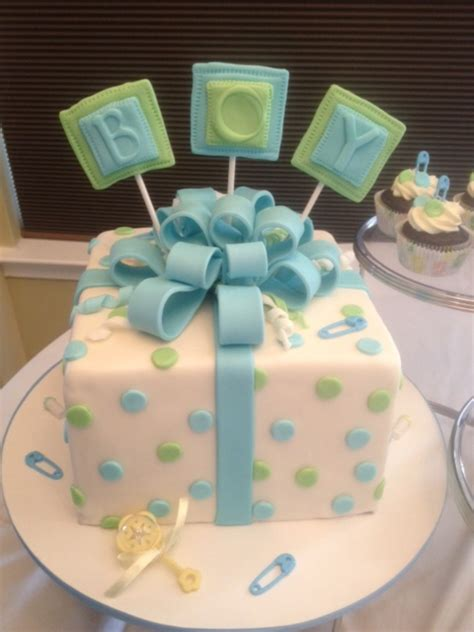 baby shower cake boy baby shower celebration cake with matching cupcakes