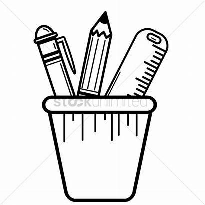 Pencil Pen Clipart Holder Ruler Pencils Pens