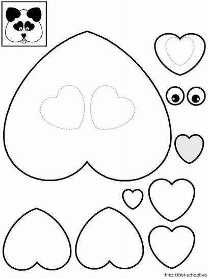 Valentine Panda Heart Templates Crafts Bears