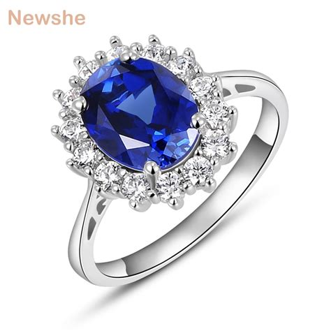 aliexpress com buy newshe halo wedding ring for 2 ct blue oval cut aaa cz solid 925