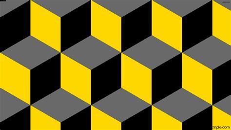Wallpaper black 3d cubes grey yellow #696969 #ffd700