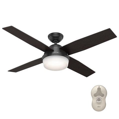 matte black ceiling fan with light hunter ronan 52 in led indoor matte black ceiling fan