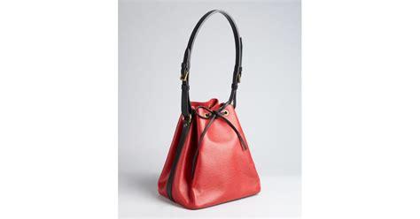 lyst louis vuitton red  black epi leather petit noe vintage shoulder bag  red