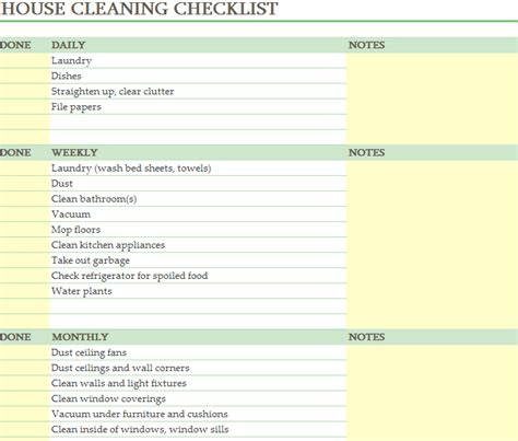 cleaning schedule sheet  excel templates