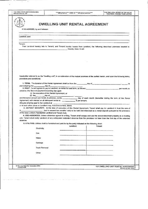 dwelling unit rental agreement form  iowa state bar