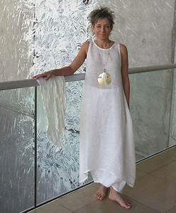 ensemble blanc en lin pour femme robe tunique en voile et With robe lin femme