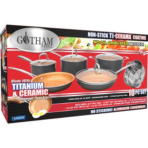 gotham steel   piece kitchen nonstick frying pan  cookware set brown vip outlet