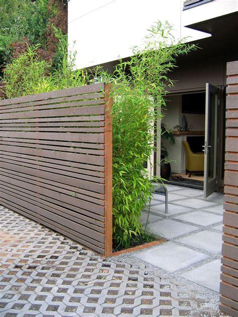 Horizontal Slat Fence And Bamboos  Diy Pinterest