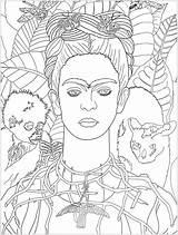 Frida Kahlo Coloring Pages Portrait Self Khalo Justcolor Autoportrait Cezanne 1940 Paul Adult Arte Colorear Para Masterpieces Colouring Adults Coloriages sketch template