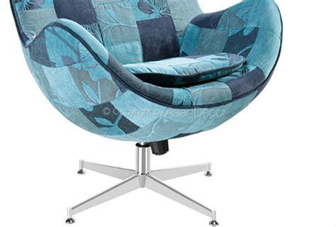 Poltrona Egg Patchwork Suede Azul Design Sala