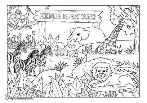 mewarnai gambar kebun binatang untuk anak paud gambar