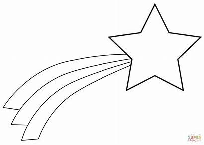 Coloring Shooting Star Christmas Pages Drawing Line