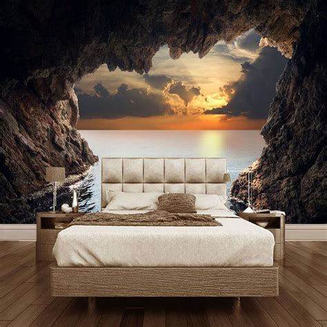 Custom Wallpaper Mural 3d Cave Seascape Sunrise Home Decor