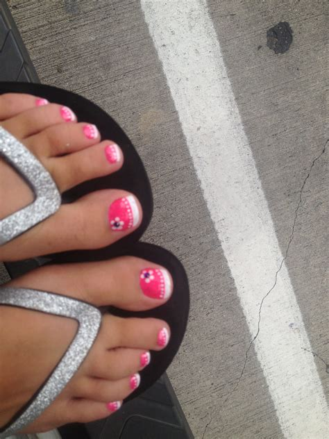 pink  white french style toes cute  summer nail