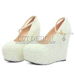 wedding shoe wedges 2015 new fashion wedges wedding shoes white ivory pearl shoes high heel