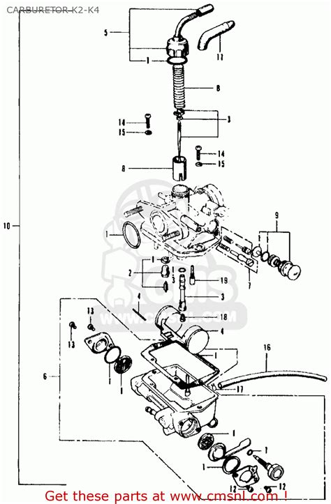 honda ct90 trail 1970 k2 usa carburetor k2 k4 schematic partsfiche