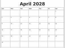 May 2028 Monthly Calendar Template
