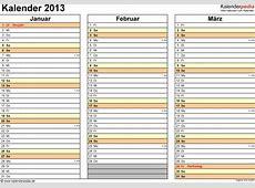 Kalender 2013 Excel Zum Ausdrucken 12 Vorlagen