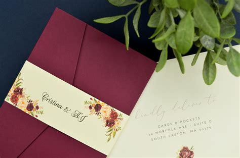 my diy story burgundy navy pocket invitation cards