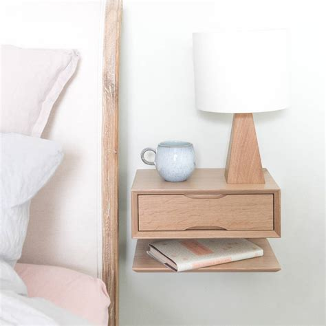 Oak Floating Bedside Table With Drawer And Shelf By