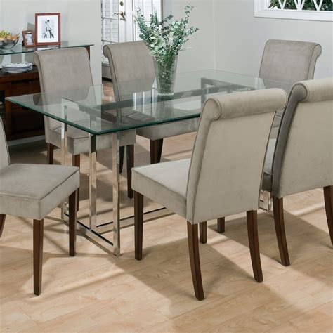 jofran bethel rectanglar glass top dining table  hayneedle